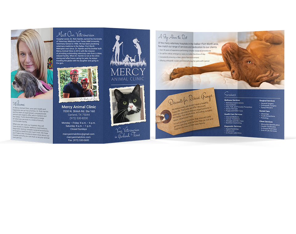 Mercy Animal Hospital tri-fold brochure by Paul W. Perry
